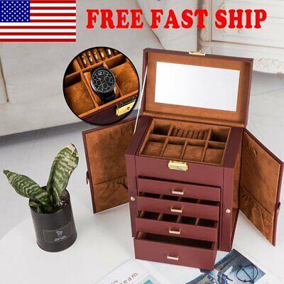 5 Tier Watch Organizer Leather Jewelry Display Box Storage Holder Lockable Case