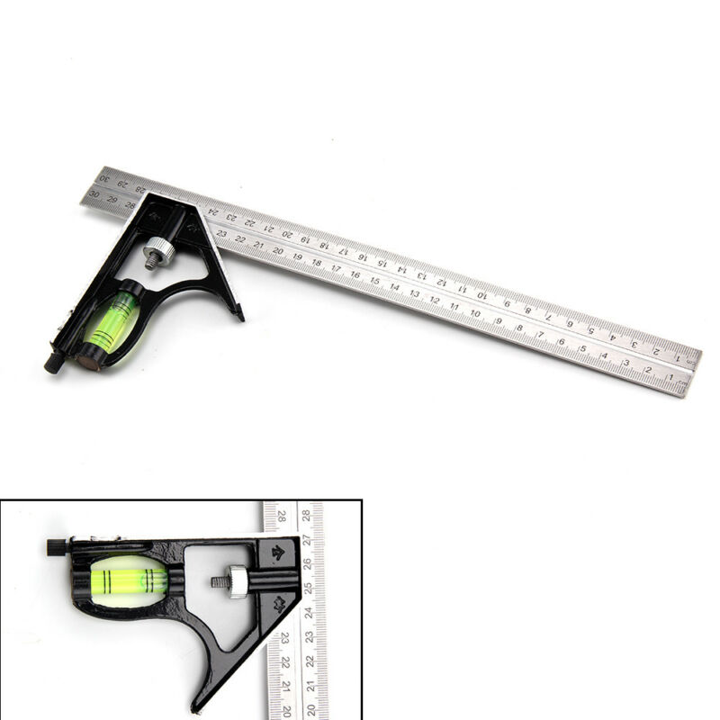 300mm Adjustable Engineers Combination Try Square Right Angle Ruler Set UK 12""