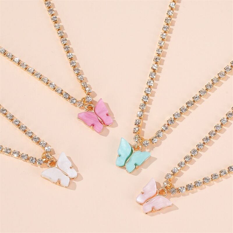 Butterfly Beads Necklace 20pcs Wholesale lots Rhinestone Gold P pendant necklace