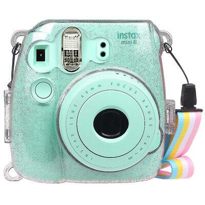 Fujifilm Instax Mini 8 /8+/ Mini 9 Instant Camera Case Bag Cover w/ Strap -Clear