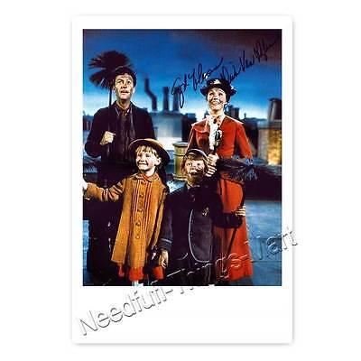 Mary Poppins mit Dick Van Dyke - seltene Autogrammfotokarte laminiert 