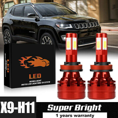 H11 H8 H9 LED Fog Lights Bulbs Conversion Kit Upgrade 6500K White 60W