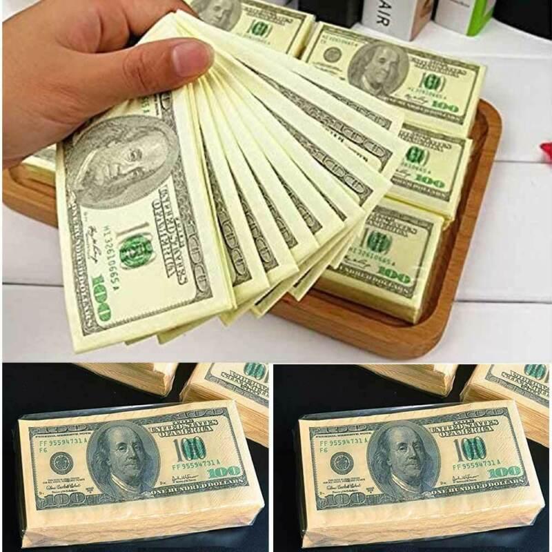 20 Facial Tissue $100 Dollar Bill Fake Money Benjamin Hand Napkin Prank Fun Gift