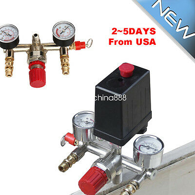 Air Compressor Pressure Control Switch Valve Manifold Regulator Gauges Relief