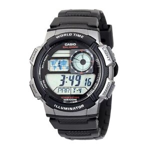 Casio AE1000W-1B Mens World Time Digital Sports Watch Alarm Chronograph Resin