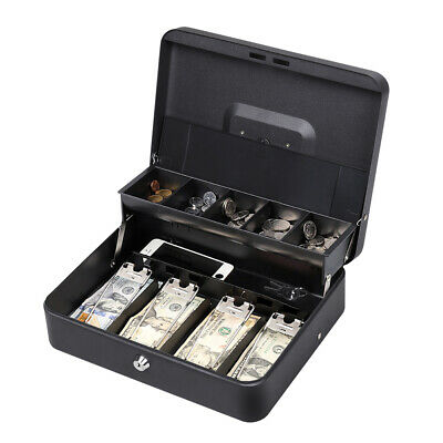 Portable Cash Box Money Organizer Key Lock Safety Storage5 Coin Trays Cover Free