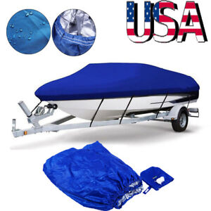 14-16FT Waterproof Tri-Hull Trailerable Fish Ski Boat Cover+Storage Bag+Rope US