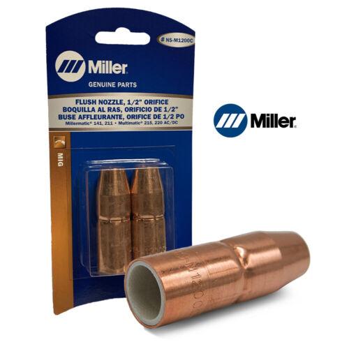 "Genuine Miller NS-M1200C AccuLock™ MDX™ Thread-On Copper Nozzle,1/2"" Orifice 2pk"