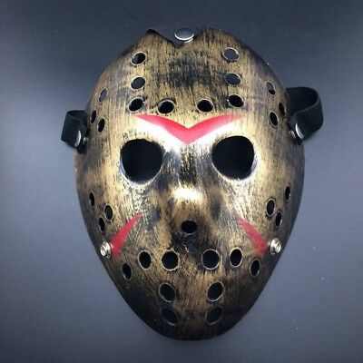 Deluxe Hard Plastic Halloween Horror Jason Ice-Hockey COSTUME MASK Rough Gold