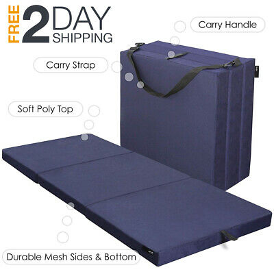 Single Mattress Topper (Tri Folding Foam Topper Mattress Twin Size Single Sleep Portable Camping)