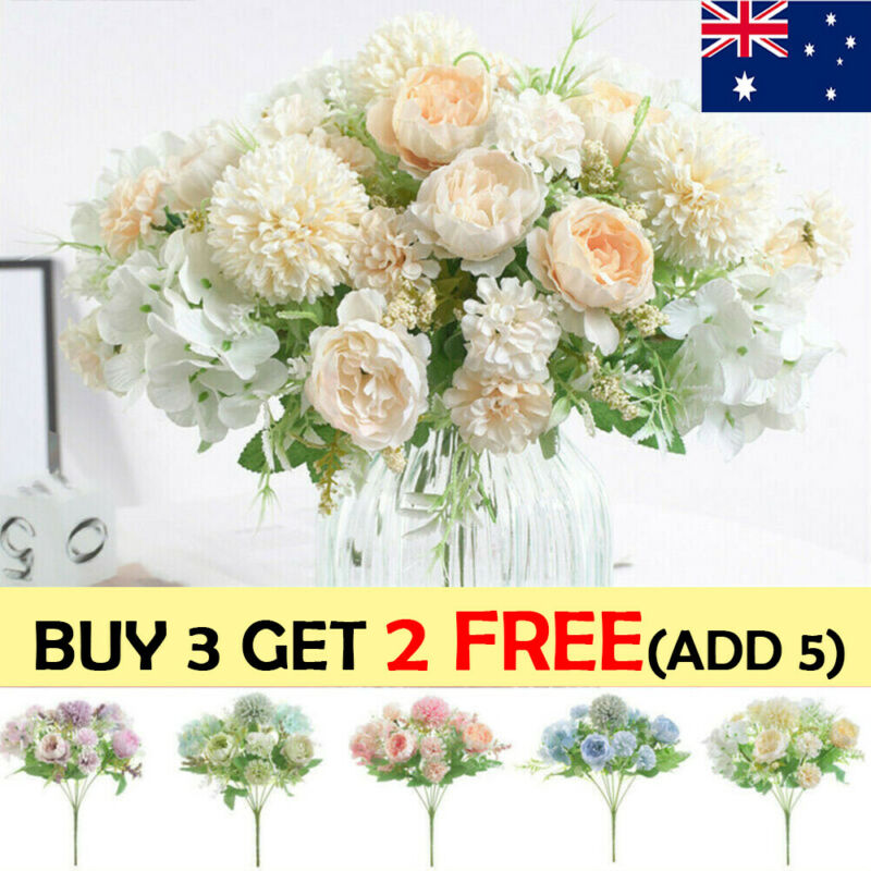 Home Decoration - Silk Peony Artificial Fake Flowers Bunch Bouquet Home Wedding Party Decor AU