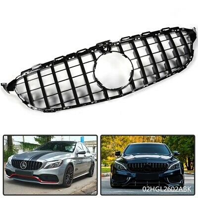 Black GT-R Grill Grille For Mercedes Benz W205 C Class 2015-2018 W/ Camera Hole