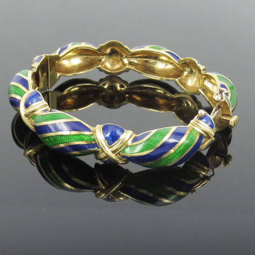 Vintage Tiffany & Co Blue Green Enamel & 18k Yellow God Hinged Curved Bangle
