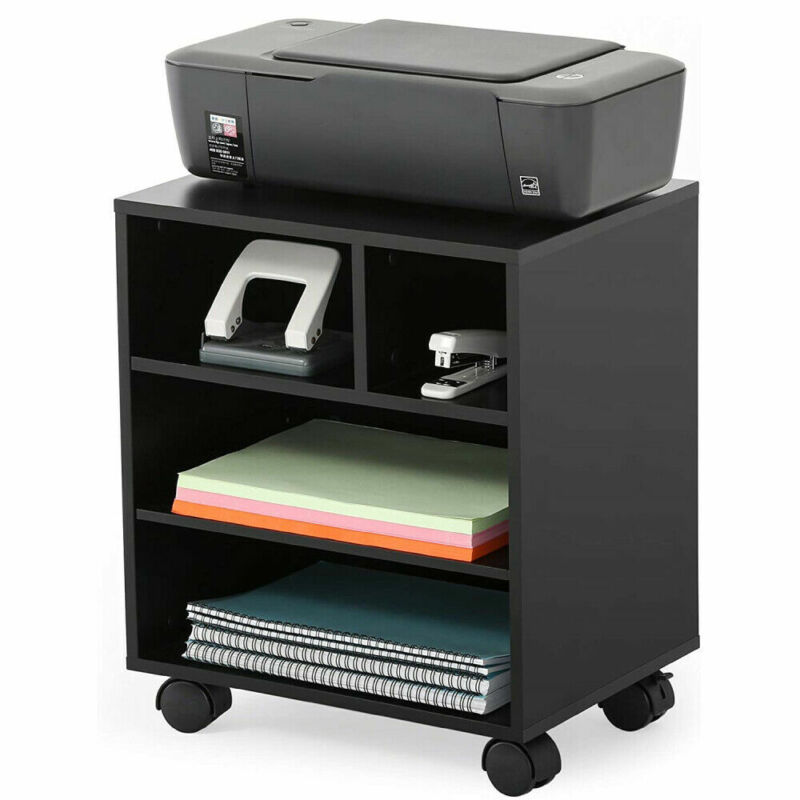 4 Tiers Mobile Printer Stand with Wheels Under Desk Organizing Storage Cabinet