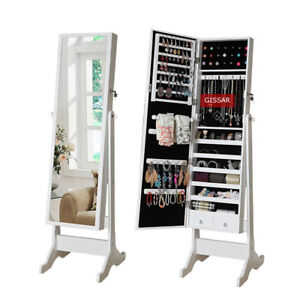 Durable Mirror Jewellery Cabinet Floor Standing Storage Box Organiser White UK