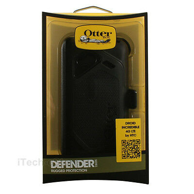 OtterBox Defender Series Case and Holster for HTC Droid Incredible 4G LTE Black (Otter Box Htc Lte)