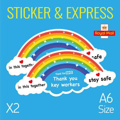 THANK YOU NHS Stickers Rainbow waterproof vinyl signs window car taxi van shop