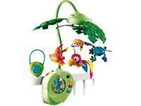 Rainforest Peek-a-boo Leaves Musical Cot Mobile