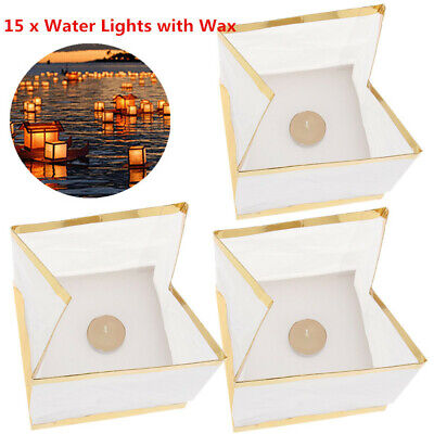 Floating Chinese Lanterns (Chinese River Lanterns Square Paper Wishing Water Floating Light Candle Lamp)