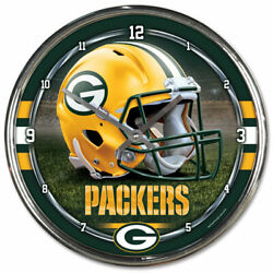 GREEN BAY PACKERS CHROME 12 ROUND WALL CLOCK NFL FOOTBALL MAN CAVE!