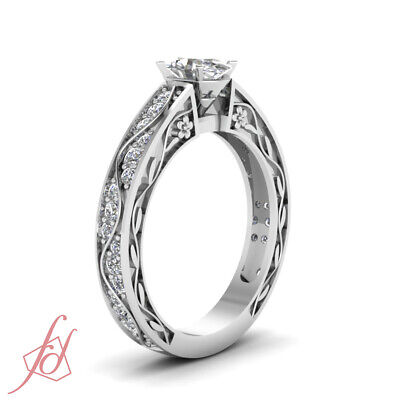 Pave Set Engagement Ring 1.35 Ct Oval Shaped SI2-E Color Diamond GIA Certified 2