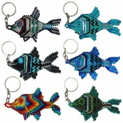 Angel Fish Key Rings Chain Glass Artisan Beads Lot Wholesale Six Pack Assorted