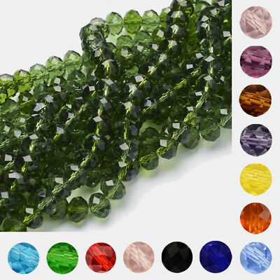 10strand Transparent Faceted Rocaille Glass Jewelry Beads Pick Color 6~16mm
