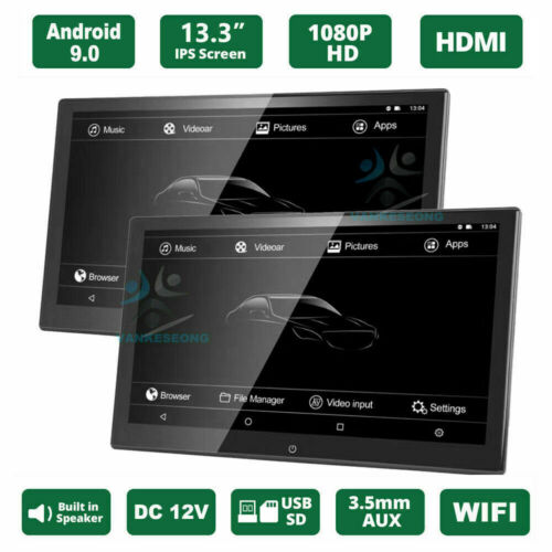 """2PC 13.3"""" Android 9.0 Car Headrest Monitor Touch Screen WIFI Bluetooth HDMI USB"""