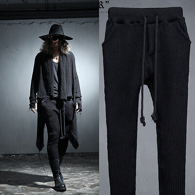ByTheR Urban Casual Vintage Slim Fit Knit One Size Trainning Pants Black N