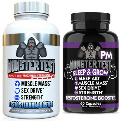 Monster Test Testosterone Booster Testosterona Supplement for Men AM and PM 2 Pk