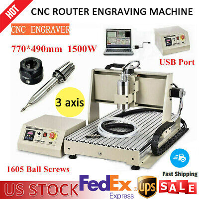 Usb 3 Axis Cnc 6040 Router Engraver Engraving Carving Milling Machine 1.5kw Vfd