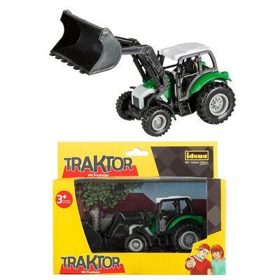 Idena Traktor 14 cm mit Frontlader Spielzeugauto Bauernhof Schlepper Auto Schlepper Spielzeug