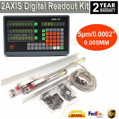 Precision 2axis Digtial Readout Linear Scale Dro Display Kit 5m Milling Lathe