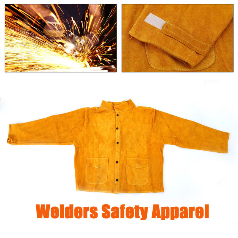 Cow Leather Welder Protective Clothing L-3XL Wear Flame-Resistant Safety Apron