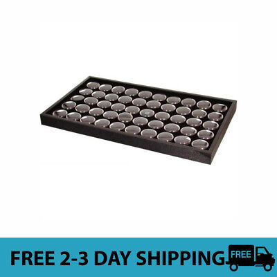 50 Black Gem /& Coin Jars Stackable Display Travel Tray