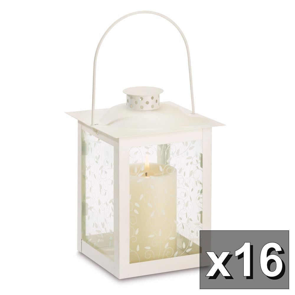 Set of 2 Lacy White Moroccan Candle Lanterns w// Ivy Vine Design Etched Glass