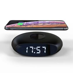 360° QI Wireless Charger Charging Dock Cell Phone Holder Digital Alarm Clock USB