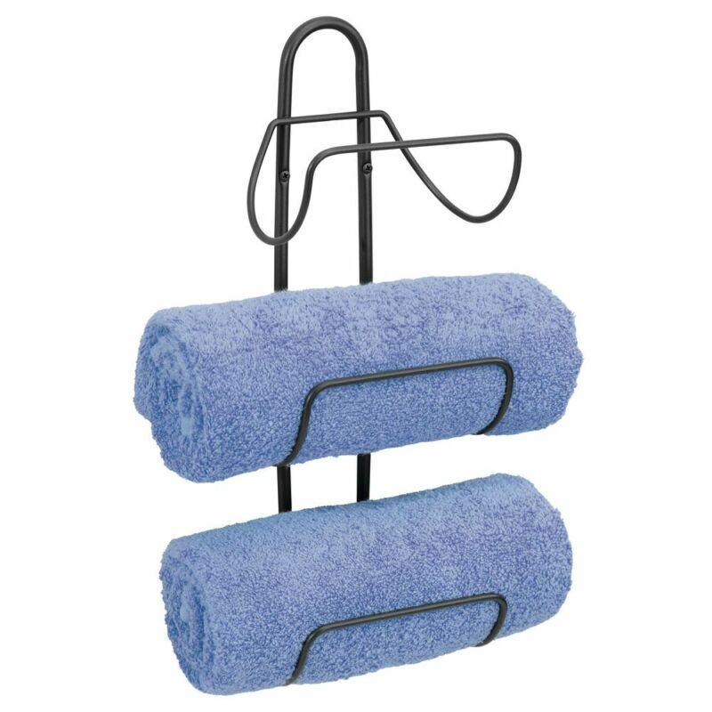 mDesign Metal 3-Level Wall Mount Towel Rack Holder and Storage Organizer - Black