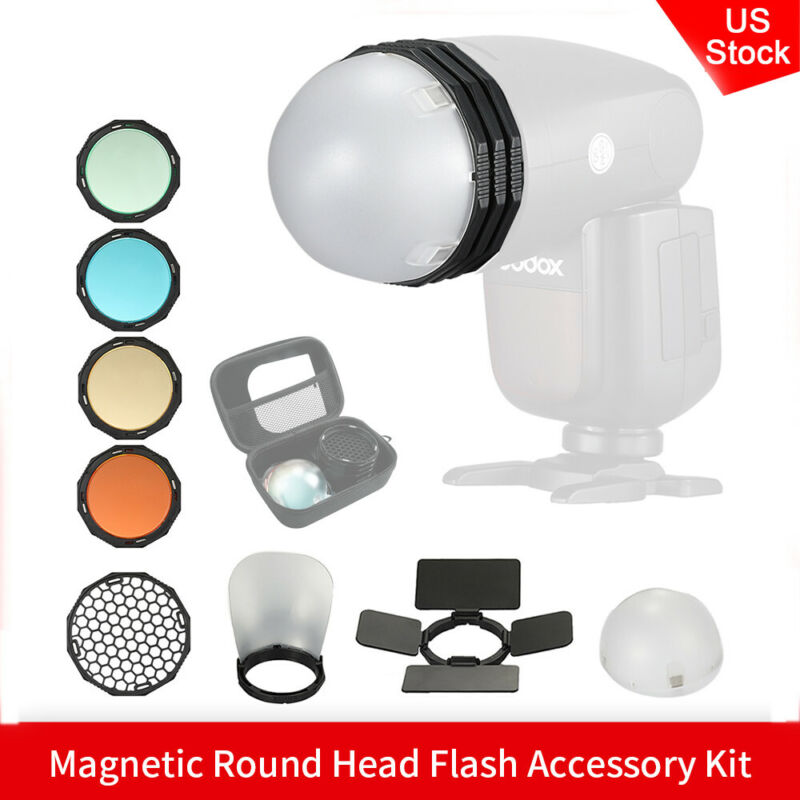 US Magnetic Round Head Flash Accessory Kit For Godox V1 H200R AD200 AD200Pro