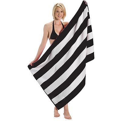Cabana Stripe Terry Velour Bath, Beach and Pool Towel