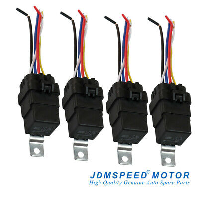 Heavy Duty 4 Pack 12v 40 Amp Car Auto 5 Pin Wire Relay Waterproof Plug Socket