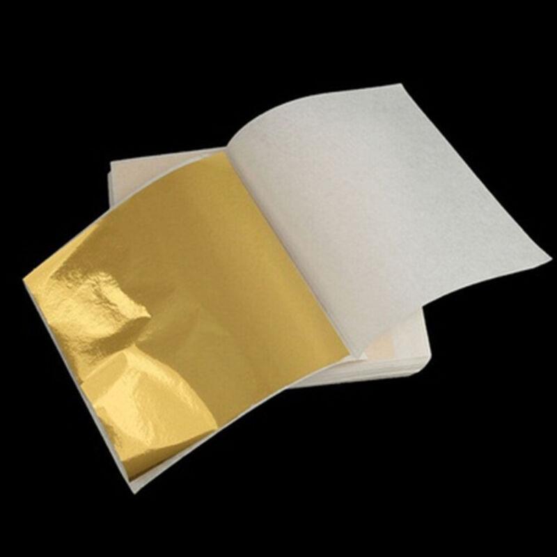 100Pcs Gold Leaf Sheets For Art Crafts Design Gilding Framing Decor 14x14cm
