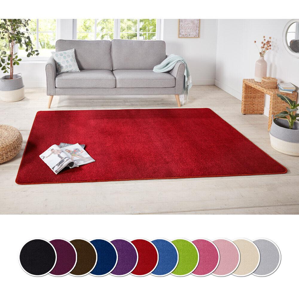 Design Kurzflor Teppich Uni einfarbig   rot grün rosa creme braun lila blau grau