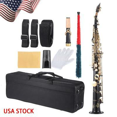 ammoon Brass Straight Soprano Sax Saxophone Bb B Flat with Case Black A3C9, used for sale  City of Industry