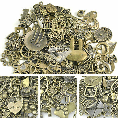 50g Random Antique Brass Mix Connector Charms Beads Findings Pendant Necklace ()