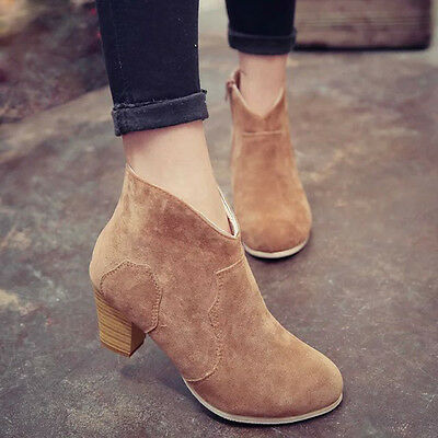 Women Short Cylinder Boots High Heels Boots Shoes Martin Boots Ankle Boots New 8