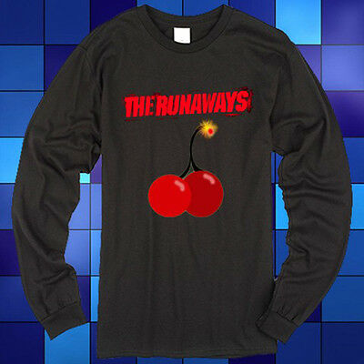 New The Runaways Cherry Bomb Logo Joan Jett Long Sleeve Black T-Shirt Size S-3XL Bomb Long Sleeve T-shirt