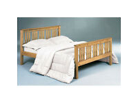 solid, pine, double bed frame, with memory foam mattress, both, new, wooden bed.