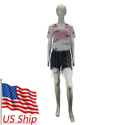 Cosplay Costumes For Women (Cosplay Birds of Prey Harley Quinn Vest T-Shirts Short Pants Full Set)