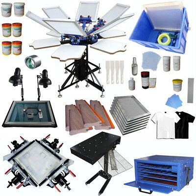 Full Set 6 Color Screen Printing Equipment Kit With Dryer Exposure Manual Tools